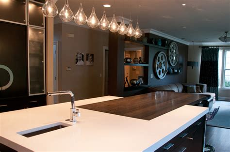 Kitchen Island with Counter Height Eating Area   Modern