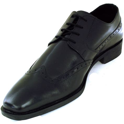 mens wing tip oxfords lace up leather comfort brogue medallion casual dress shoe ebay