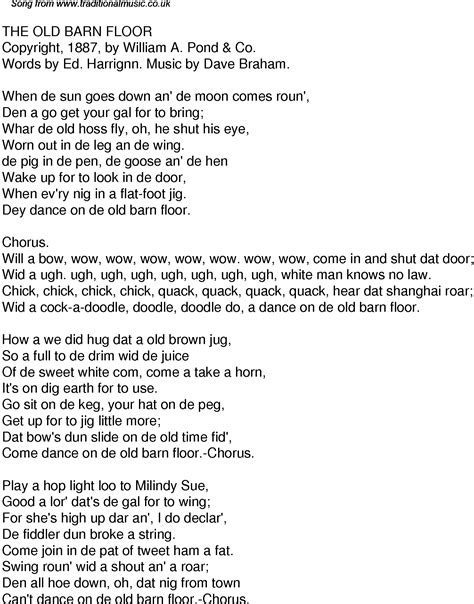 Floor Song by Time Song Lyrics For 32 The Barn Floor