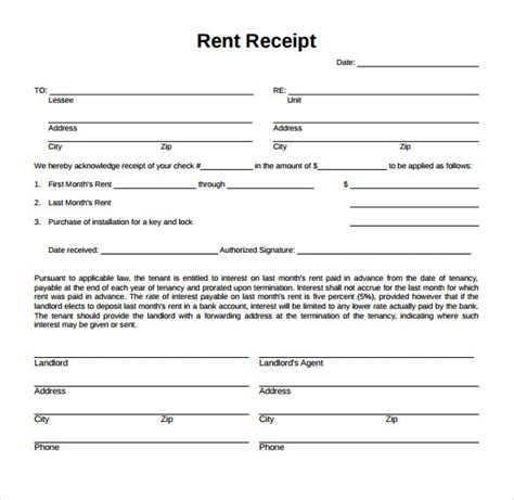 landlord receipt template sle rent receipt form template 7 free documents in pdf