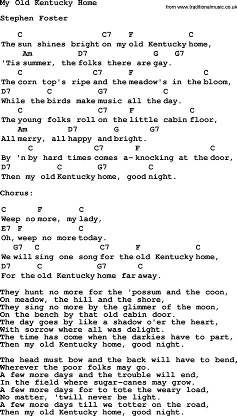 Kentucky Home Lyrics by Top 1000 Folk And Time Songs Collection Kentucky Home Lyrics With Chords And Pdf