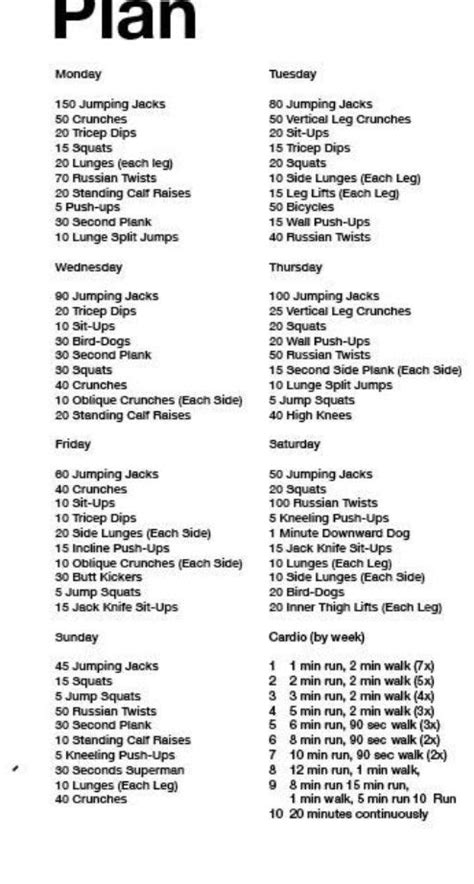 17 best ideas about daily workout plans on