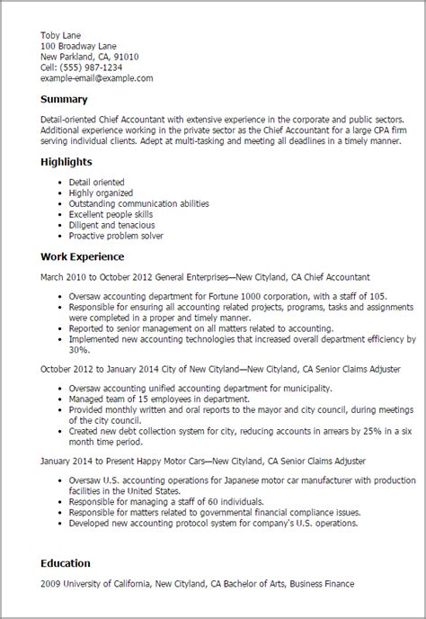 resume summary exles for accounting 1 chief accountant resume templates try them now myperfectresume
