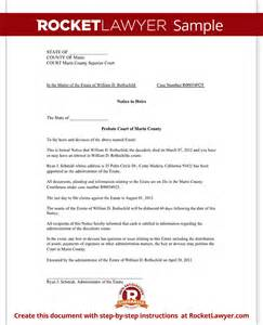 estate distribution letter template notice to heirs form with sle