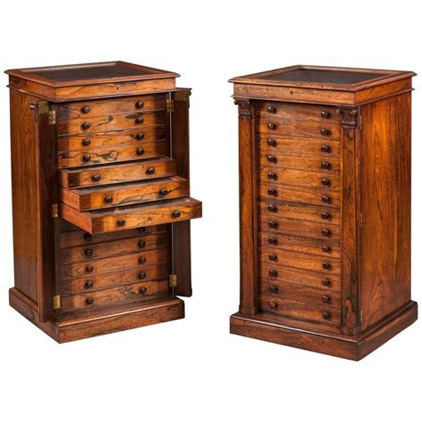 Pair of English Collectors Specimen Cabinets with