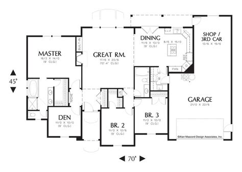 tandem garage plans mascord house plan 1144