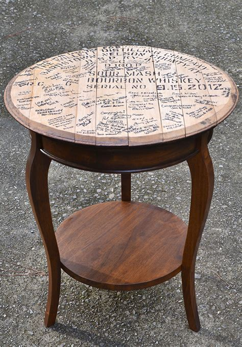 whiskey barrel side table whiskey barrel top end tables hearts sharts