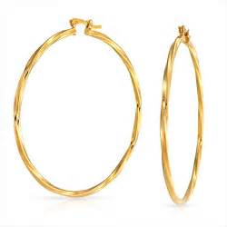 Bling jewelry large twisted yellow gold filled hoop earrings 2 25 inch