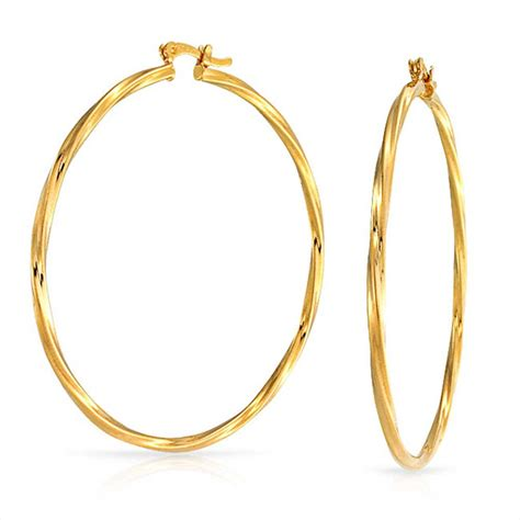large twisted yellow gold filled hoop earrings 2 25 inch