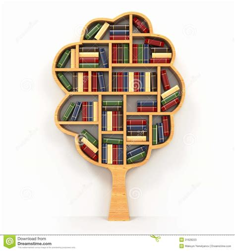 tree of knowledge bookshelf on white background stock