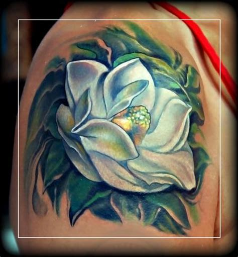 southern steel tattoo magnolia grandiflora by litos tattoonow