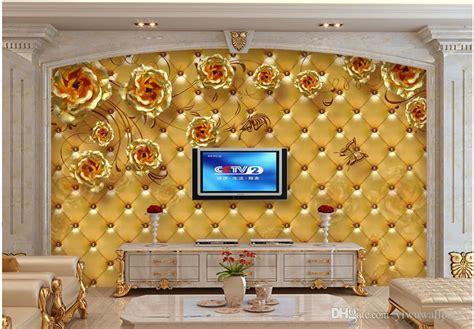 Wallpaper Murals 3d Stereoscopic Soft Bag Roses Living Room Tv Wa golden soft bag living room bedroom tv background