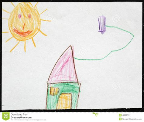 S Drawing Origin by Green House The Sun Child S Drawing Stock Photo