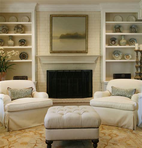 Beige Chevron Rug Brick Fireplace Traditional Living Room Ashley