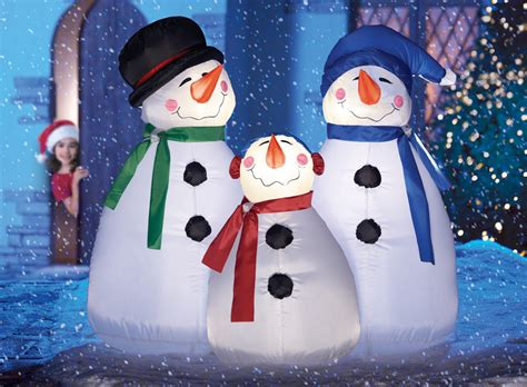 lighted frosty snowman family christmas outdoor airblown