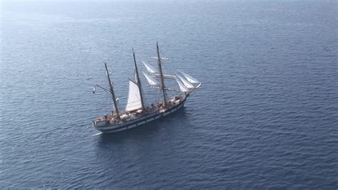 boat or ship clue aerial view of the palinuro sailing ship at sea stock