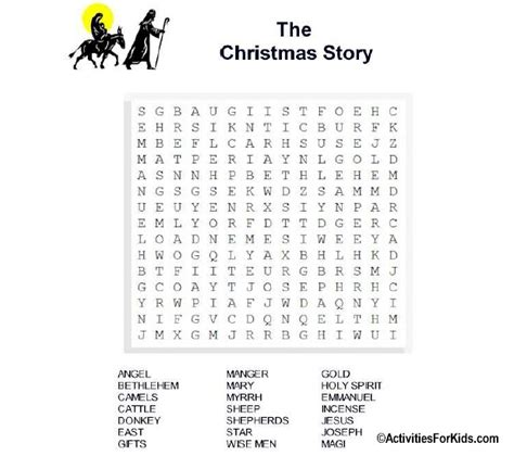 printable version of the nativity story christmas story word search printable for kids word