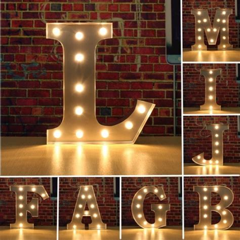 light letters vintage metal led light diy letter a to m sign carnival