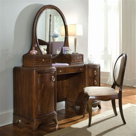 bedroom vanity table with drawers vintage brown wooden vanity table set with round mirror
