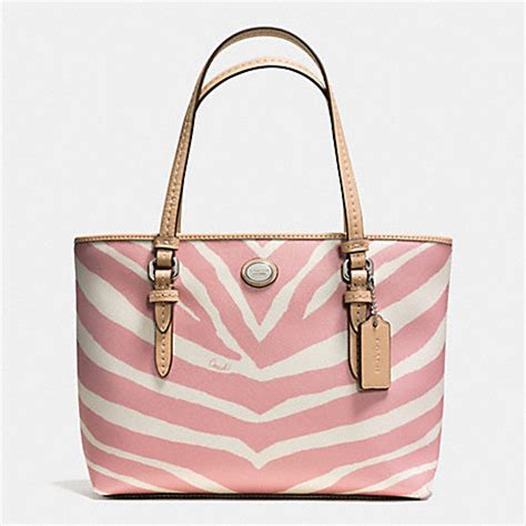 Coach Htons Large Signature Zebra Tote by Coach F52532 Peyton Zebra Print Top Handle Tote Silver