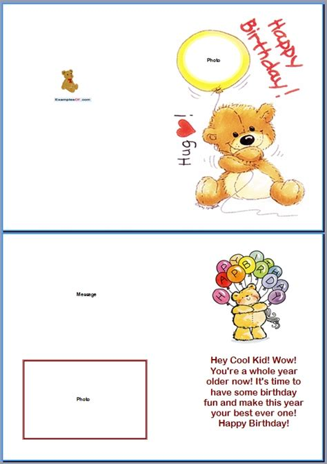 Exle Of Kids Card Bear Birthday Card Templates For Children