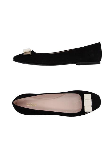bally flat shoes bally ballet flats in black lyst