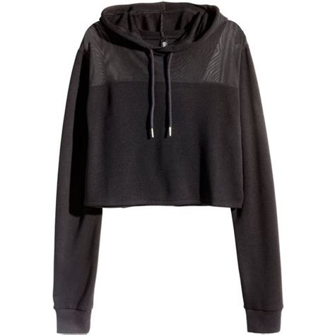 h m cropped hooded sweatshirt 20 liked on polyvore