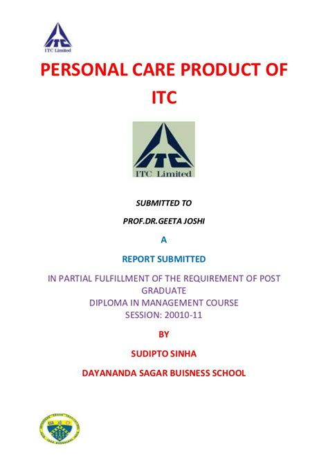 Mba Self Care by Effective Shoo Bottle Distribution Of Itc Ltd