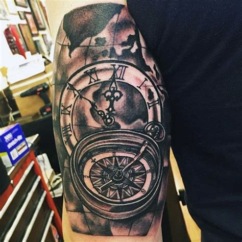 compass tattoo piece 50 tricep tattoos for men masculine design ideas