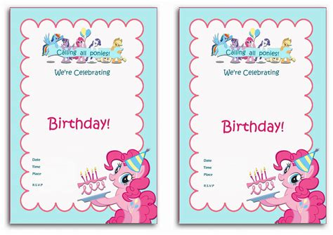 my pony birthday card template my pony birthday invitations birthday printable