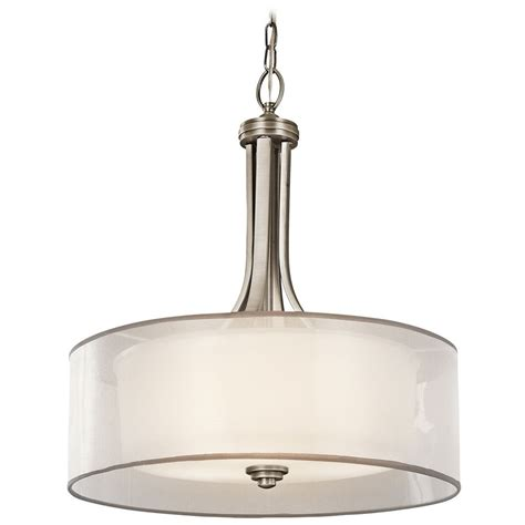Drum Pendant Lights Kichler Drum Pendant Light With White Glass In Antique Pewter Finish 42385ap Destination