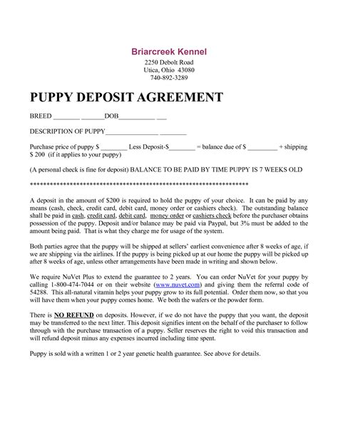 Sle Deposit Agreement Letter 8 Best Images Of Free Printable Puppy Purchase Agreement Printable Puppy Sale Contract