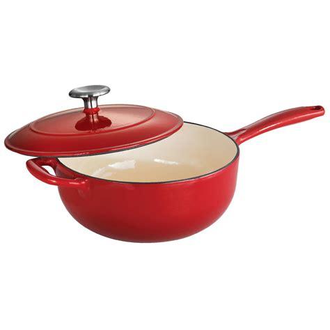 cast iron enamel cookware tramontina gourmet enameled cast iron 3 qt covered saucier