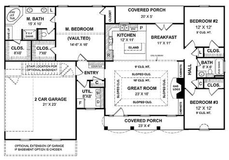 One Story House Plans With Large Kitchens by A Simple One Story House Plan With Two Master Wics Big