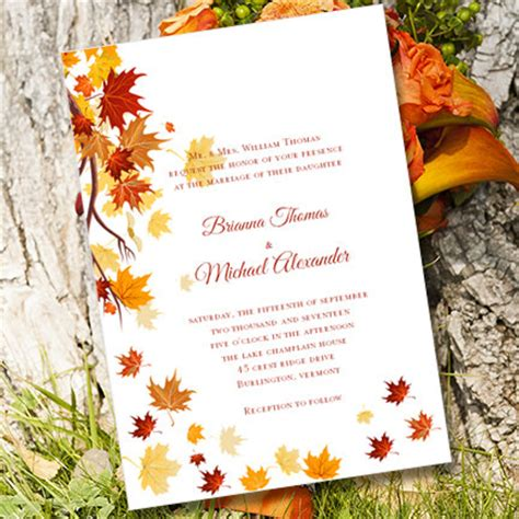 fall printable wedding invitation templates printable wedding invitation template quot falling leaves