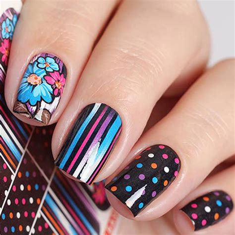 Nail Sticker Manicure Decoration Tatto 6 wuf 1 sheet colorful flower water transfer sticker nail decals beautiful diy decor temporary