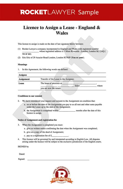 tenancy licence agreement template licence to assign free assignment of lease template