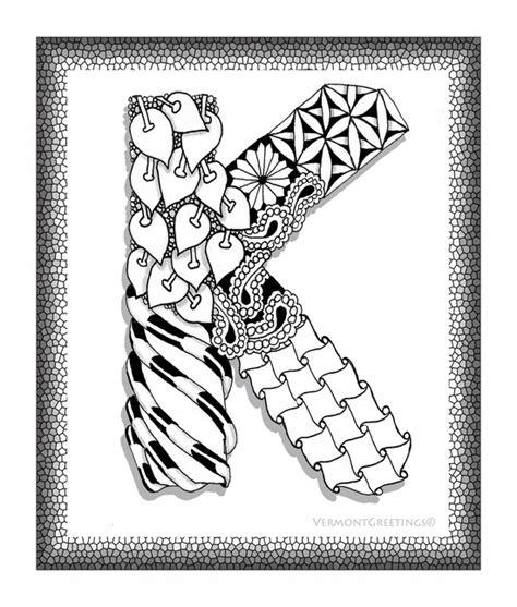 K Letter Doodle zentangle k monogram alphabet illustration image