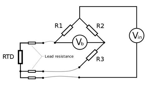 wheatstone bridge with resistor in middle resistance thermometer