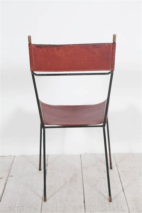 Leather And Metal Dining Room Chairs Set Of Four Italian Leather And Metal Dining Chairs With