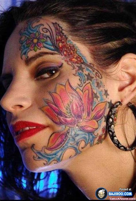 tattoo face girl lotus flower and butterfly on for