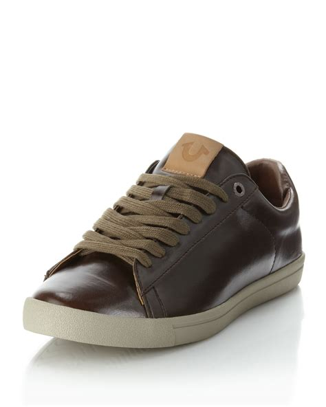 true religion shoes for true religion billy fauxleather sneaker in brown for