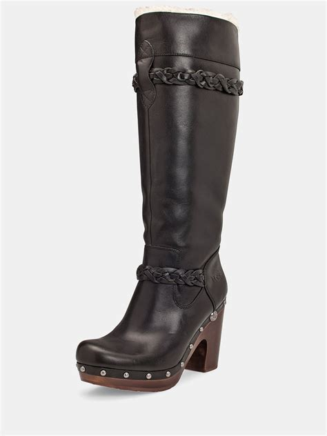 black leather ugg boots ugg savanna leather boots in black lyst