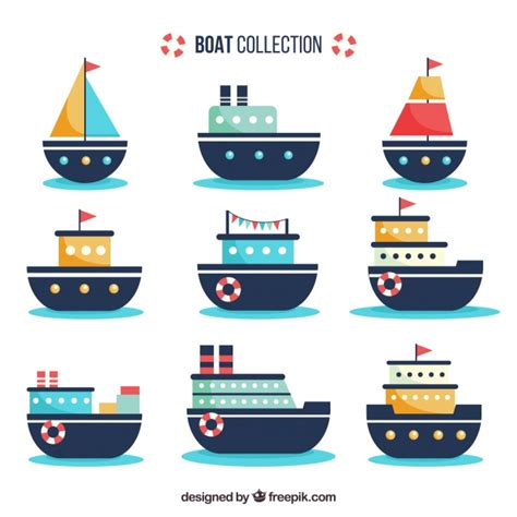 great flats boats set of flat boats with great designs vector free download