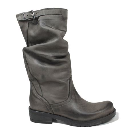 grey biker boots biker boots in genuine leather gray fall winter