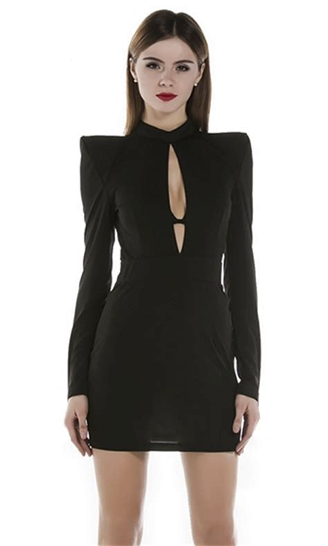 Dress Midi Mini Gaun Spandek Set Cardigan Polos Resmi Formal Kerja strictly business black shoulder accent sleeve cut out keyhole mock neck bodycon mini dress