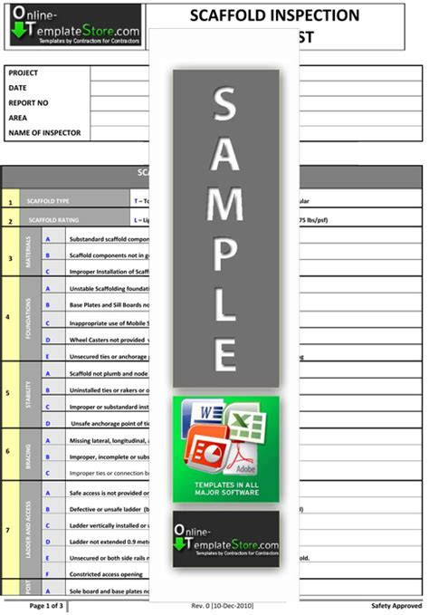 Scaffold Inspection Checklist Free Template by Health Safety Forms Construction Templates