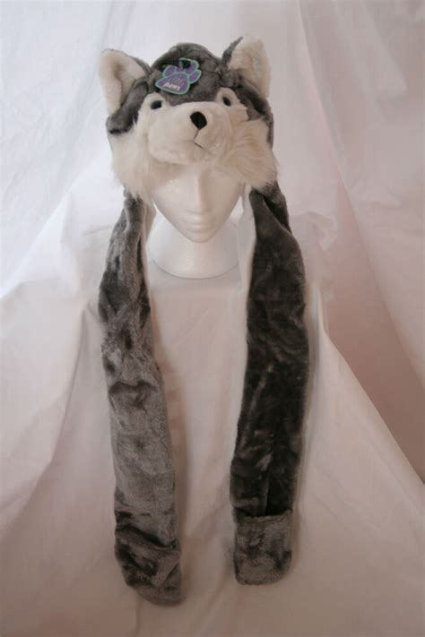 wolfhusky grey plush polyester hat hat ear muffs scarf gloves    ebay