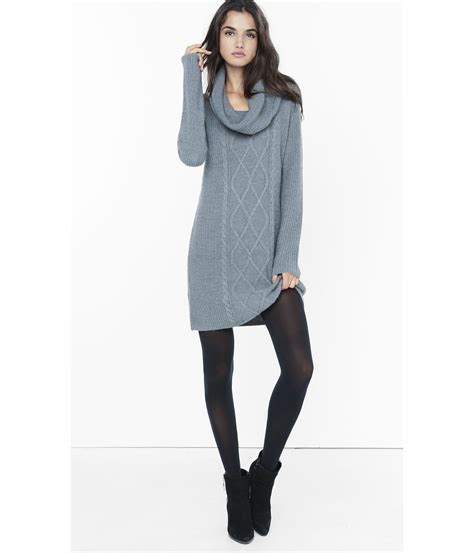 cable knit sweater dresses express gray cowl neck cable knit sweater dress in gray lyst
