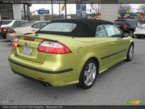 2006 saab 9 3 aero convertible in lime yellow photo no